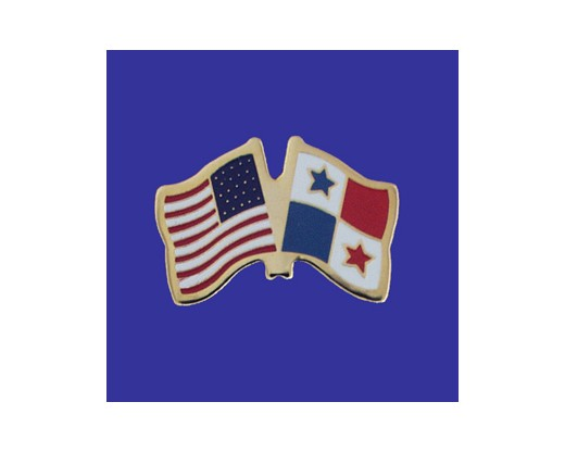 Panama Lapel Pin (Double Waving Flag w/USA)