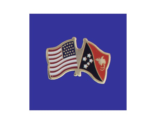 Papua New Guinea Lapel Pin (Double Waving Flag w/USA)
