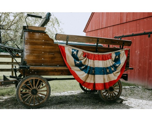Patriotic pleated fan on wagon side view