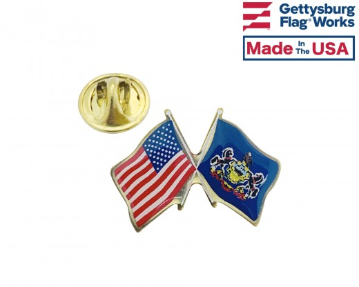 Pennsylvania State Flag Lapel Pin (Double Waving Flag w/USA)