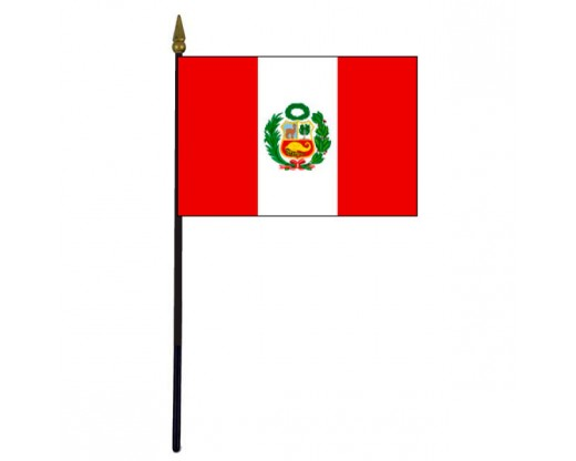 Peru Stick Flag (with seal) - 4x6""