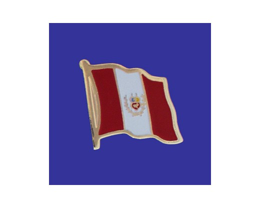 Peru (no seal design) Lapel Pin (Single Waving Flag)