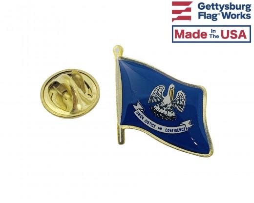 Louisiana State Flag Lapel Pin (Single Waving Flag)