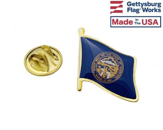 Nebraska State Flag Lapel Pin (Single Waving Flag)