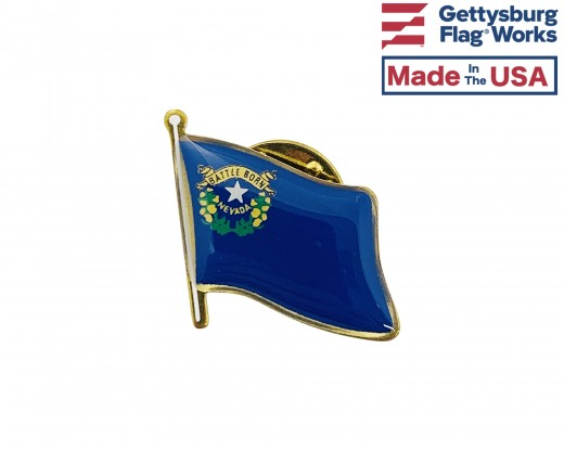 Nevada State Flag Lapel Pin (Single Waving Flag)