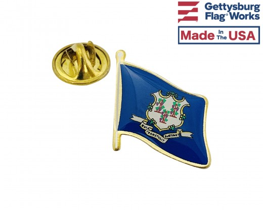 Connecticut State Flag Lapel Pin (Single Waving Flag)