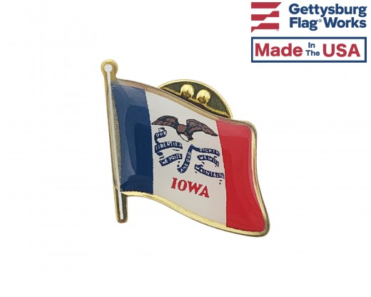 Iowa State Flag Lapel Pin (Single Waving Flag)