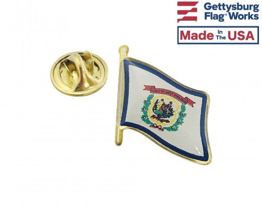West Virginia State Flag Lapel Pin (Single Waving Flag)