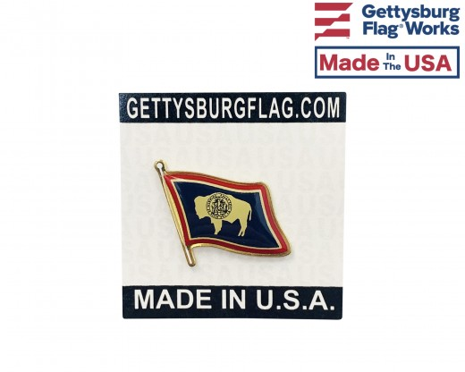 Wyoming State Flag Lapel Pin (Single Waving Flag)