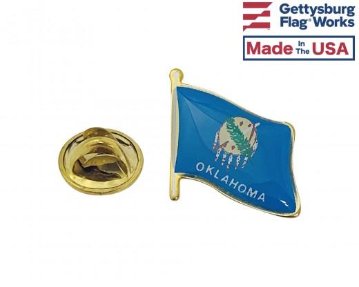 Oklahoma State Flag Lapel Pin (Single Waving Flag)