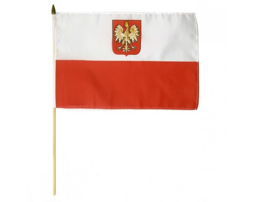 Polish Ancestral Stick Flag (Eagle) - 12x18""