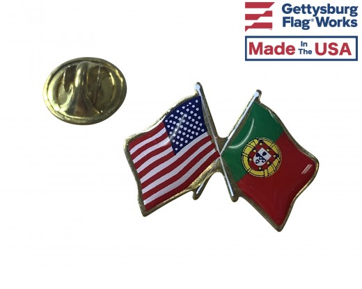 Portugal Lapel Pin (Double Waving Flag w/USA) (Imported - Close Out)