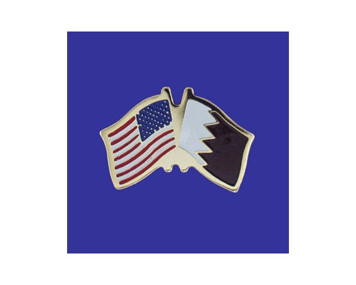 Qatar Lapel Pin (Double Waving Flag w/USA)
