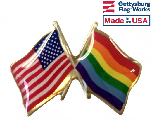 Rainbow Pride Lapel Pin (Double Waving Flag w/USA)