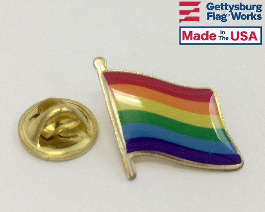 Waving Rainbow Pride Flag Pin