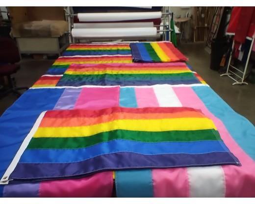 rainbow flags on table