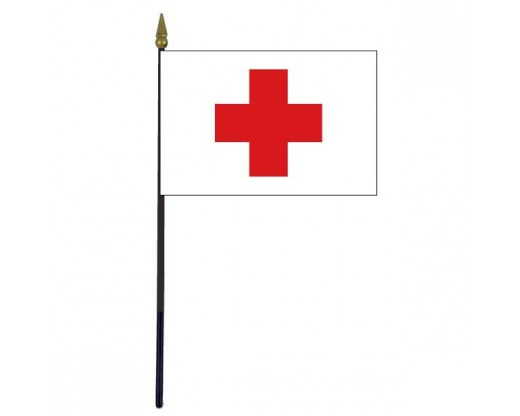 Red Cross Stick Flag - 4x6""