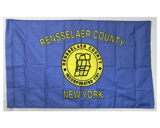 """County Of Rensselaer Flag (New York, USA), 3"""" Pole Sleeve with Tab - 3x5'"""