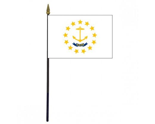 "Rhode Island State Stick Flag - 4x6"""