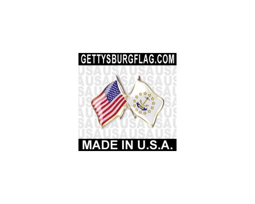 Rhode Island State Flag Lapel Pin (Double Waving Flag w/USA)