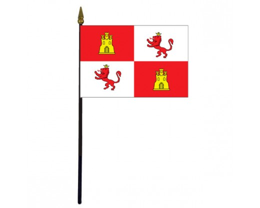 "Spain Stick Flag (Royal Standard "" Lions) - 4x6"""