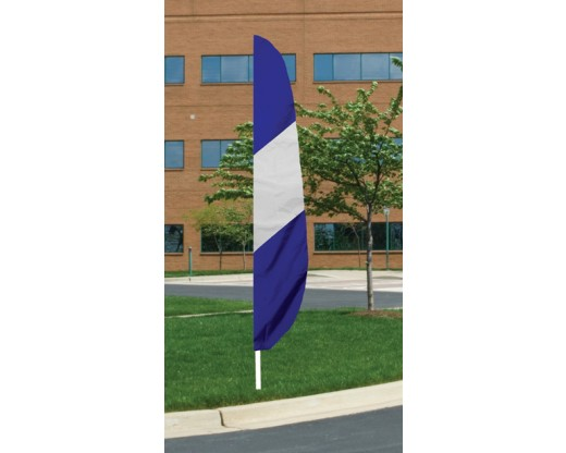 "12'x26"" Blue/White Diagonal Stripes Feather Flag"