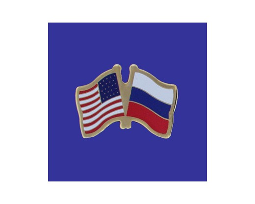 Russian Federation Lapel Pin (Double Waving Flag w/USA)