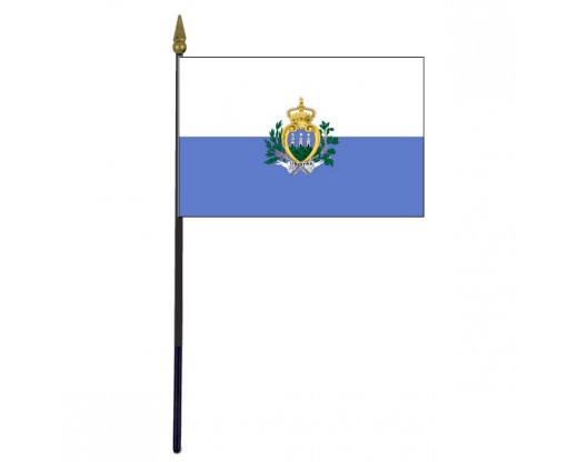 San Marino Stick Flag (with seal) - 4x6""