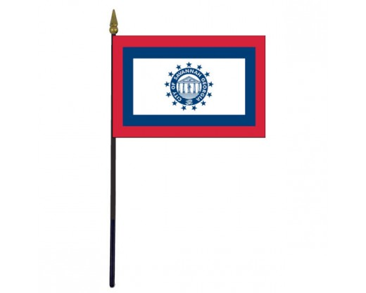 City of Savannah Stick Flag (GA, USA) - 4x6""