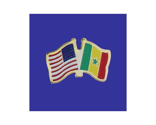 Senegal Lapel Pin (Double Waving Flag w/USA)