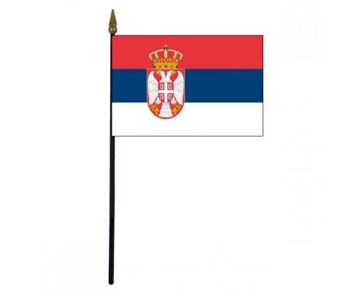 """Serbia Stick Flag - 4x6"""""""