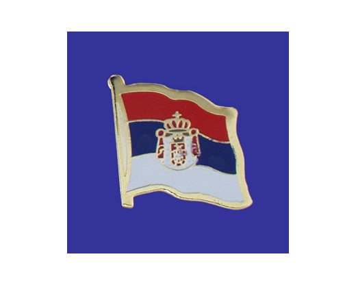 Serbia (seal design) Lapel Pin (Single Waving Flag)