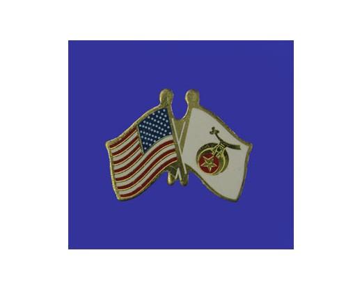 Shriner  Lapel Pin (Double Waving Flag w/USA)