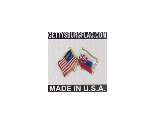 Slovakia Lapel Pin (Double Waving Flag w/USA)