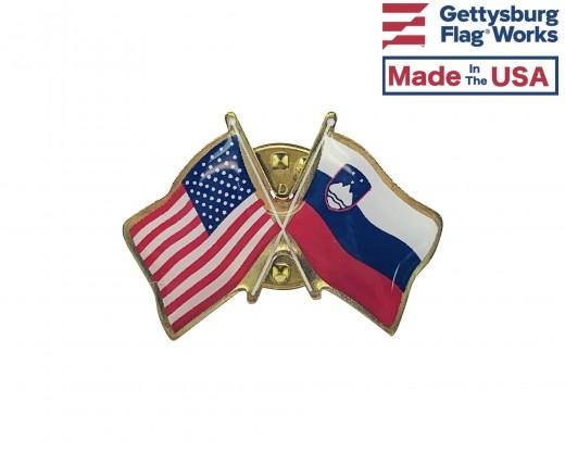Slovenia Lapel Pin (Double Waving Flag w/USA)