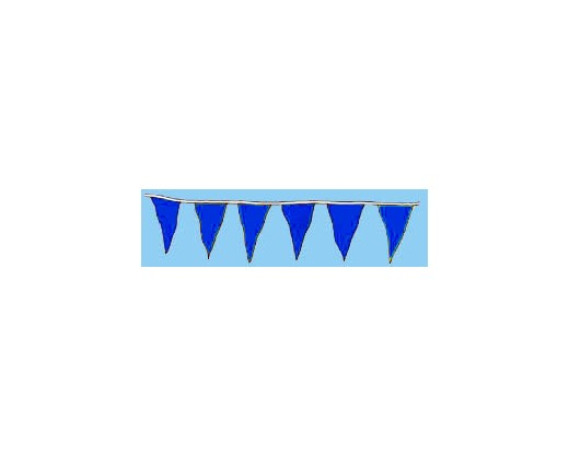 "Blue 12x18"" Triangle Pennants - 60'"