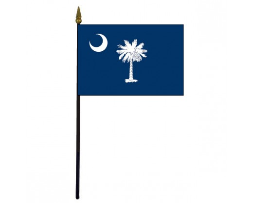 South Carolina State Stick Flag - 4x6""