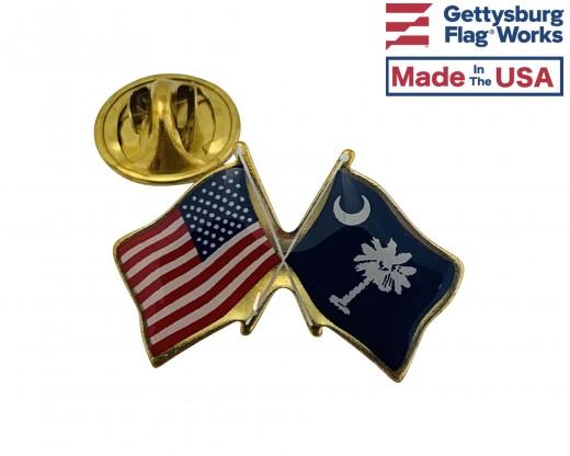 South Carolina State Flag Lapel Pin (Double Waving Flag w/USA)
