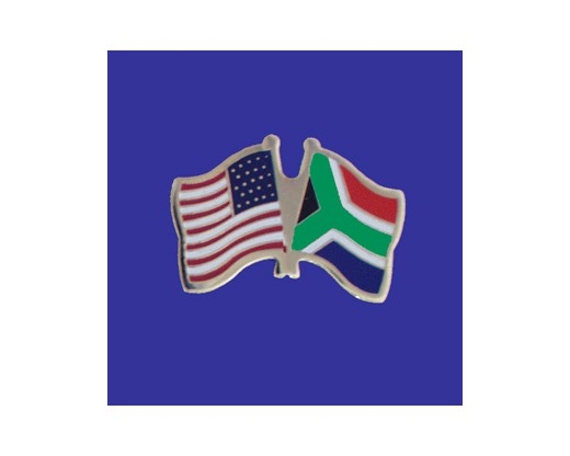 South Africa Lapel Pin (Double Waving Flag w/USA) (Imported - Close Out)