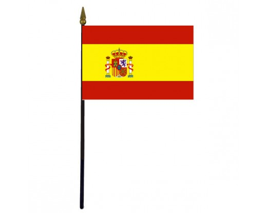 Spain Stick Flag (with seal) - 8x12""