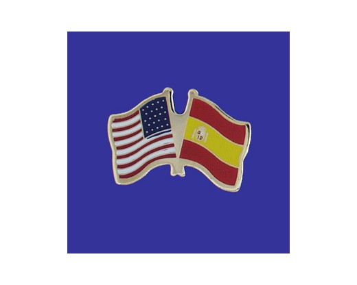 Spain Lapel Pin (Double Waving Flag w/USA) (Imported - Close Out)