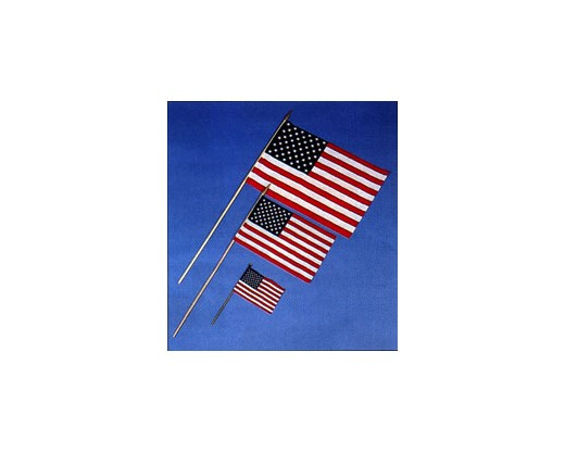 "American Stick Flag (Hemmed, On 1/2"" Wood Staff) - 2x3'"