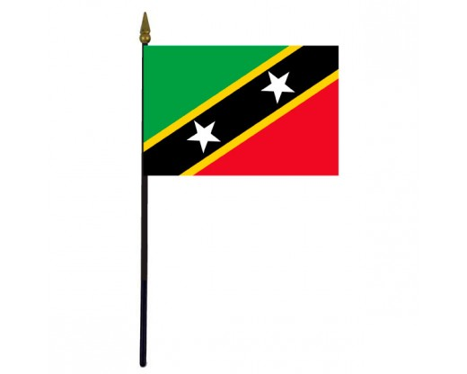 """St. Kitts-Nevis Stick Flag - 4x6"""""""