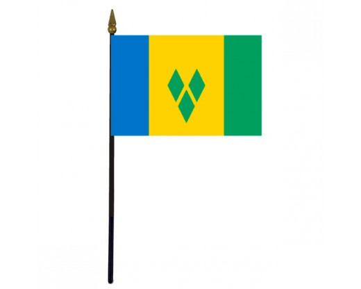 St. Vincent & The Grenadines Stick Flag - 4x6""
