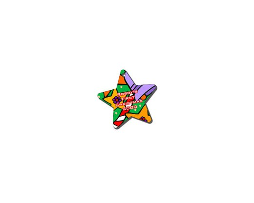 Custom Printed Plastic Star Christmas Ornament 4""