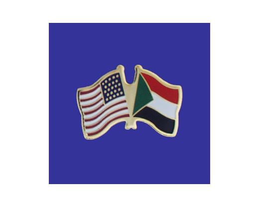 Sudan Lapel Pin (Double Waving Flag w/USA)