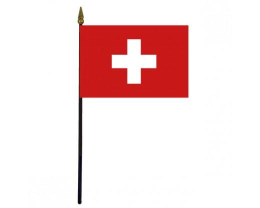 """Switzerland Stick Flag - 4x6"""""""