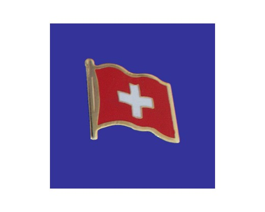 Switzerland Lapel Pin (Double Waving Flag w/USA)