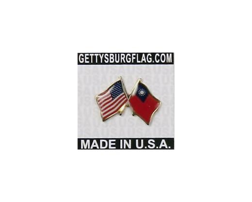 Taiwan Lapel Pin (Double Waving Flag w/USA)