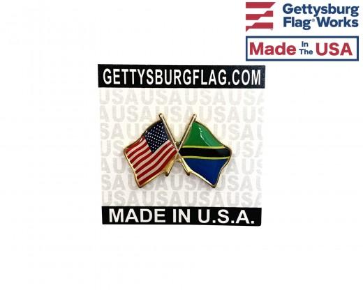 Tanzania Lapel Pin (Double Waving Flag w/USA)